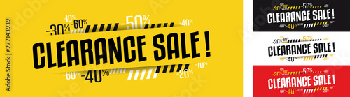 Clearance sale banner in four variations