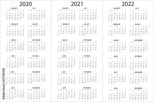 Vertical Calendar 2022.Set Of Calendars 2020 2021 2022 Years Simple Design Template Vertical Format Week Starts On Sunday Vector Illustration Stock Vector Adobe Stock