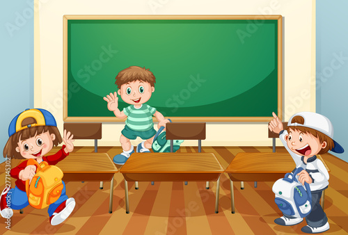 Poster Jeunes enfants Kids in classroom with books