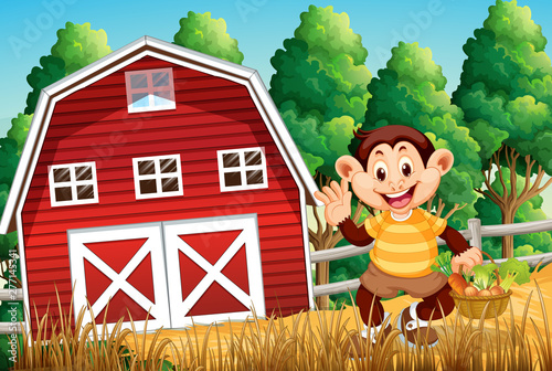 In de dag Kids Happy monkey at farm house