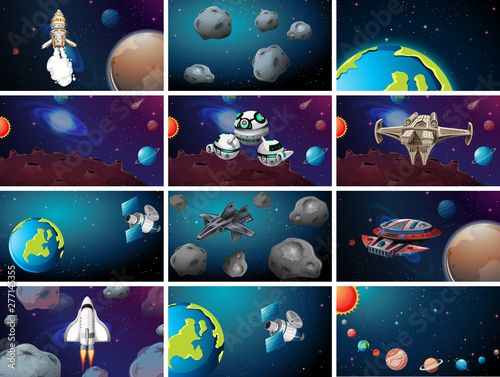 In de dag Kids Large space themed scene set