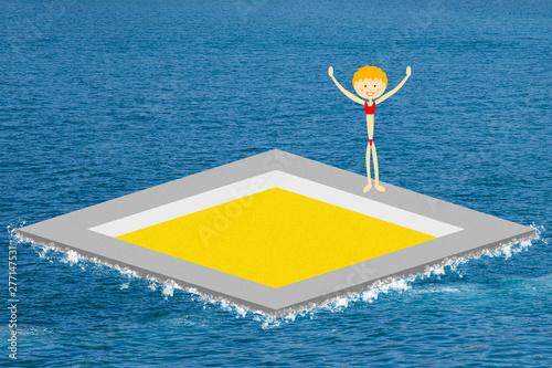 Photo Piscine de sable au milieu de la mer