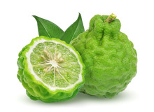 Whole And Half Bergamot Fruit With Leaf Isolated On White Background