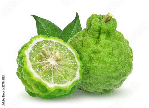 whole and half bergamot fruit with leaf isolated on white background Wallpaper Mural