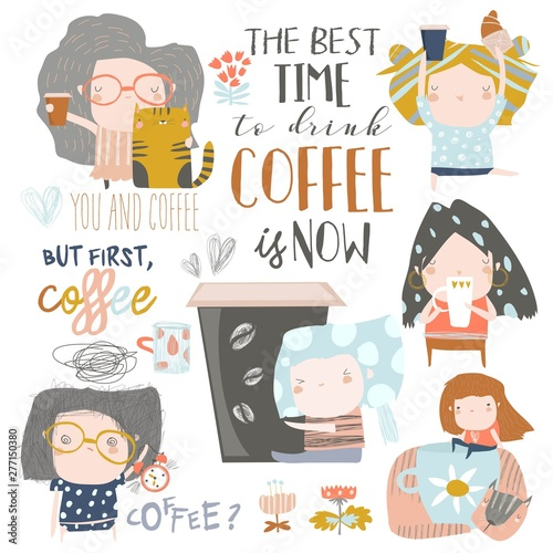 Cute young girls drinking coffee. Vector set