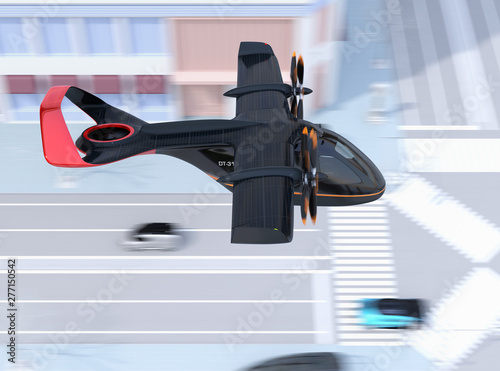 Side view of E-VTOL passenger aircraft flying over the street Canvas-taulu