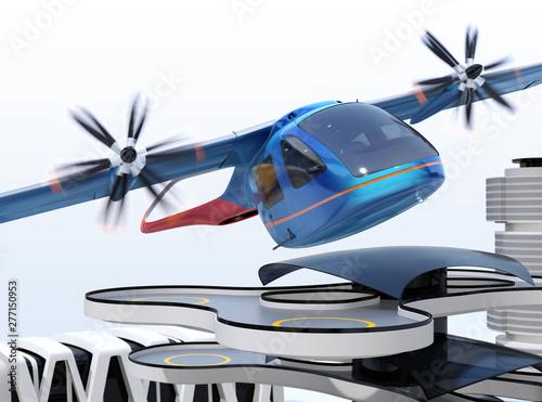 Tablou Canvas Metallic blue E-VTOL passenger aircraft taking off from an urban airport