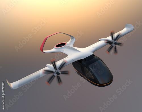 Fotomural E-VTOL passenger aircraft flying in the sky