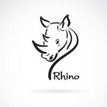 Vector Of Freehand Rhino Head Painting. Wild Animals.