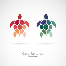 Vector Of Two Colorful Turtles On White Background. Wild Animals. Underwater Animal. Turtle Icon Or Logo. Easy Editable Layered Vector Illustration.
