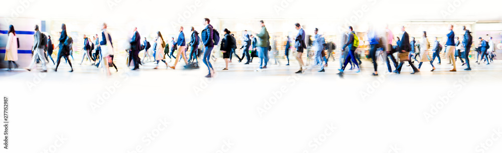 Fototapety, obrazy: Beautiful motion blur of walking people in train station. Early morning rush hours, busy modern life concept. Ideal for websites and magazines layouts