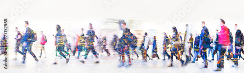 Beautiful motion blur of walking people in train station. Early morning rush hours, busy modern life concept. Ideal for websites and magazines layouts - 277152969
