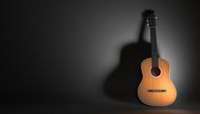 Acoustic Guitar On A Black Bac...