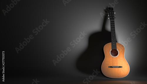 Fotografie, Obraz  acoustic guitar on a black background 3d illustration
