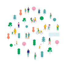 Summer Park Arranged In Circle Shape. Happy People Walking And Running, Riding Bicycle. Outdoor Activity. Male And Female. Flat Vector Illustration Isolated On White Background.