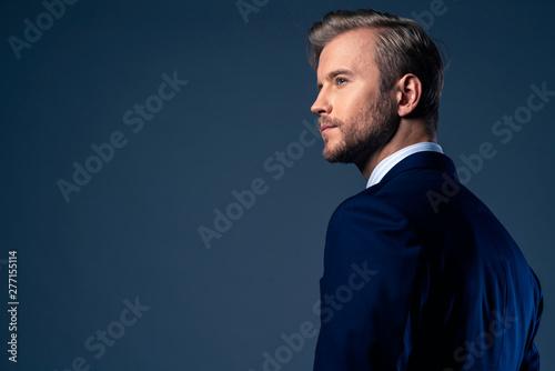 Fotografia  elegance caucasian Successful businessman  with beard close up wear formal suit