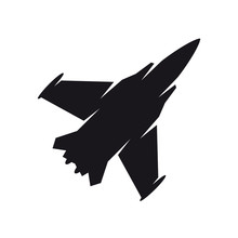 Black Military Aircraft Symbol. Fighter Jet, Aircraft Icon Or Sign Concept.