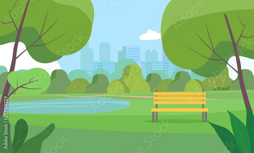 Obraz Landscape in city park . Vector flat style Illustration. - fototapety do salonu