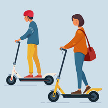A Young Man And A Woman Ride An Electric Scooters