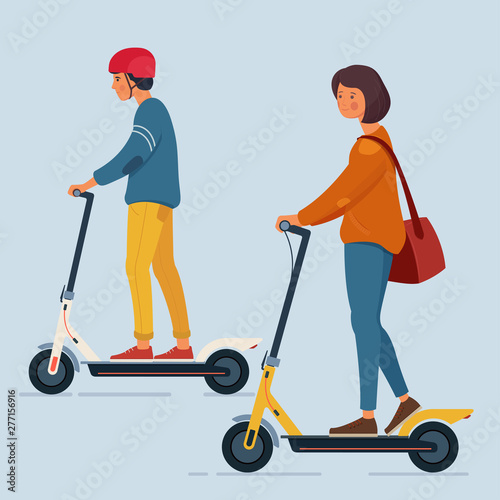 A young man and a woman ride an electric scooters Wall mural