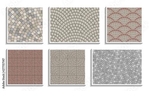 Fotografia Set of seamless round pavement textures