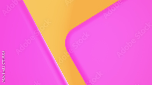 canvas print motiv - nuttawut : Abstract Round Shape 3D render Background pink geometric on yellow gradient