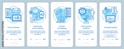 Marketing automation blue onboarding mobile app page screen vector template Canvas Print