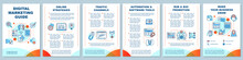 Digital Marketing Guide Brochure Template Layout. Customer Attraction Strategy. Flyer, Booklet, Leaflet Print Design With Linear Icons. Vector Page Layouts For Magazines, Reports, Advertising Posters