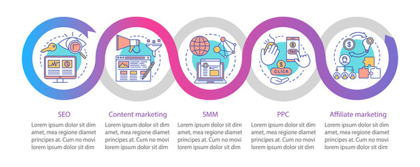 Digital marketing tactics vector infographic template. Business presentation design elements. Data visualization with five steps and options. Process timeline chart. Workflow layout with linear icons