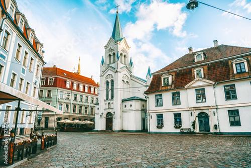 In de dag Brugge Beautiful cityscape, old city in Riga the capital of Latvia, retro tone