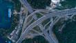 Top view city traffic of highway in Kiev city, Ukraine