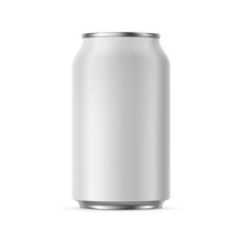 Aluminium Can Mockup 330 Ml, Isolated On White Background - Front View. Vector Illustration