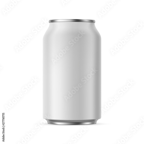 Fotografia Aluminium can mockup 330 ml, isolated on white background - front view