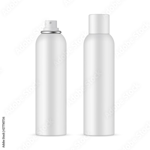 Foto Deodorant spray bottle mockup with opened and closed cap, isolated on white background