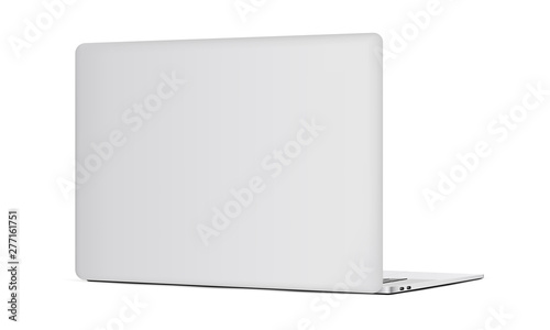Fotografía Laptop backside mockup isolated on white background