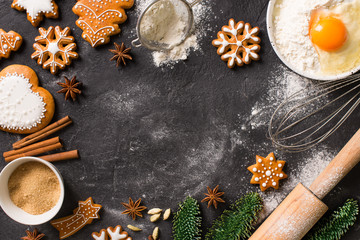 Christmas gingerbread background cookies with ingredient cooking, happy new year holiday concept
