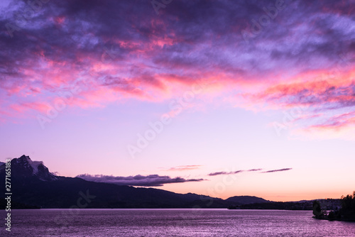 Printed kitchen splashbacks Purple Sunset over the tops of the mountains. Overcast