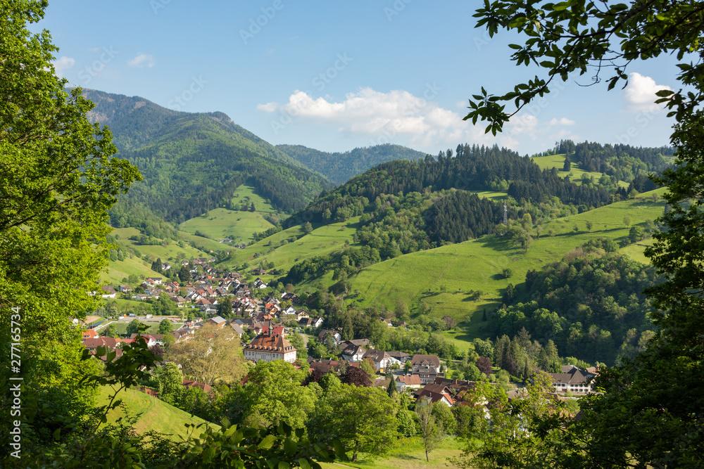 Fototapeta The small village Muenstertal in the Black Forest