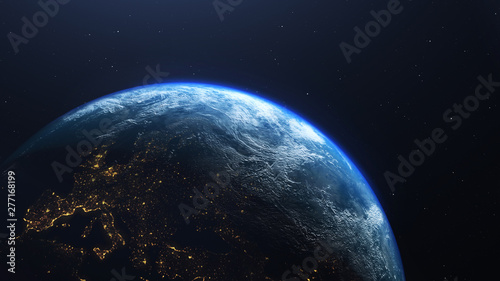 Photo  Earth planet viewed from space at night showing the lights of Europe, 3d render
