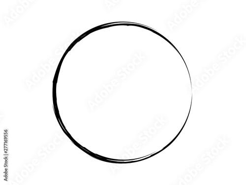Fotografie, Obraz  Grunge circle made of black ink