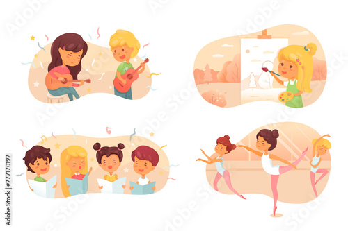 Talented children flat vector characters set Canvas Print