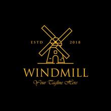 Line Art Windmill Logo Designs...
