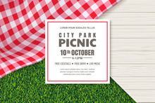 Picnic Poster Or Banner Design Template. Vector Background With Realistic Red Gingham Tablecloth, Wooden Table And Grass