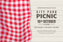Picnic Horizontal Background. Vector Poster, Banner Template With Realistic Red Gingham Tablecloth On White Wooden Table
