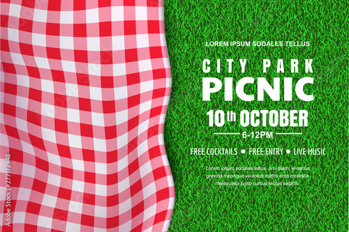 Fototapeta Picnic horizontal background. Vector poster or banner template with realistic red gingham plaid on green grass lawn obraz