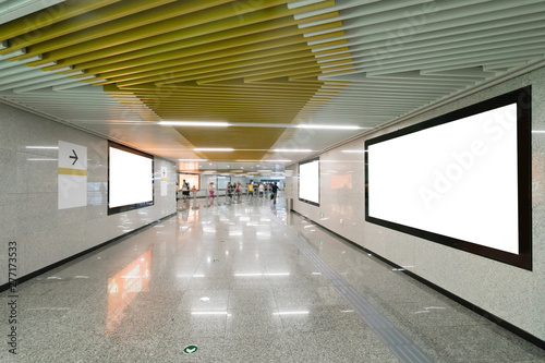 Photo Light box advertising at subway station passageway