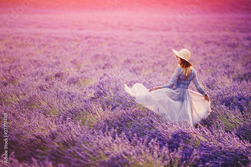 Poster Lichtroze Woman in lavender flowers field at sunset in purple dress. France, Provence
