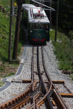 Mountain Tram In Alps. France, Chamonix Valley. Popular Touristic Destination