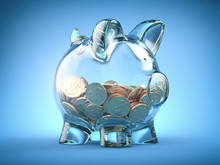 Glass Piggy Bank And Coins Wit...