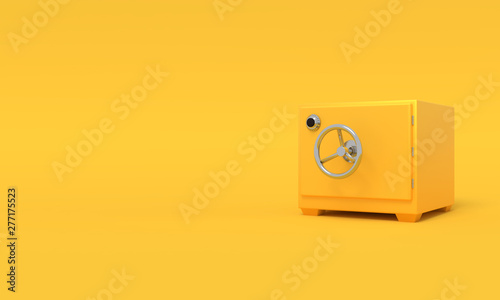 Vintage safe deposit. Illustration with empty place for text. 3D rendering